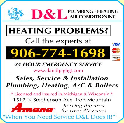 Plumbing Heating Air Conditioning by D L Plumbing Heating Air Conditioning Iron Mountain