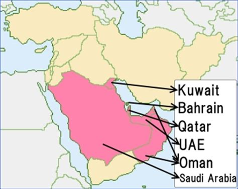 Gcc Countries Map Outline by Gcc Countries Outline Map