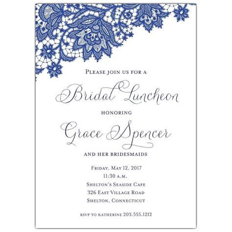 Bridal Invitations by Navy Lace Bridal Luncheon Invitations Printed Materials