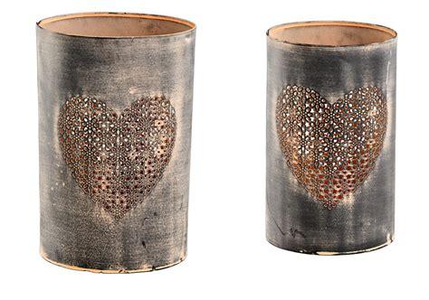 feuerschale mit glas metall windlicht mit herz shabby vintage in braun h 21cm