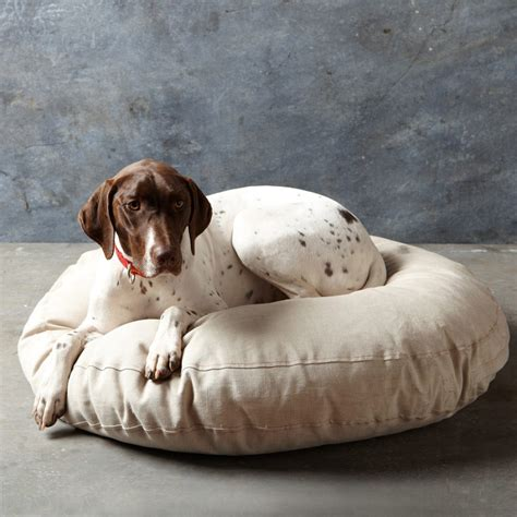 monogram dog bed embroidered french linen dog bed the green head