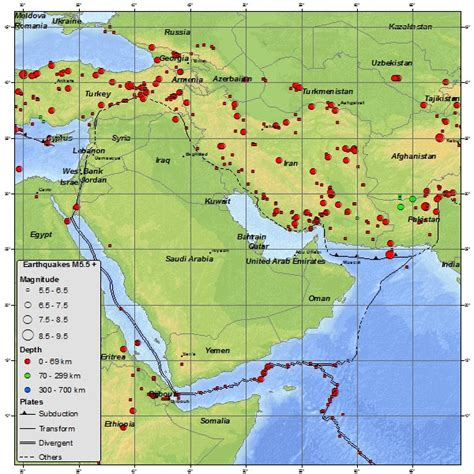 middle east earthquake map geophysics why are there more earthquakes in