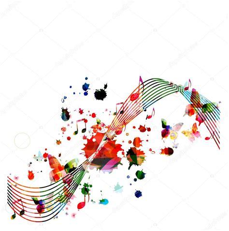 imagenes de notas musicales en colores sfondo colorato con note musicali vettoriali stock