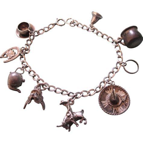 vintage sterling silver western theme charm bracelet