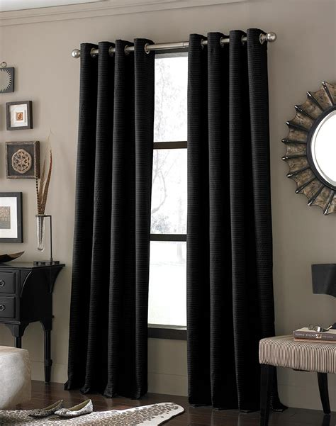 Modern Curtains Ideas Decor Outstanding Modern Black Curtains Design Ideas With Chrome Curtain Rod Also Square Frame On