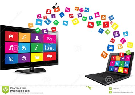 layout app for laptop smart tv and laptop with apps stock photos image 35861403