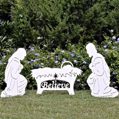 believe holy family outdoor nativity set