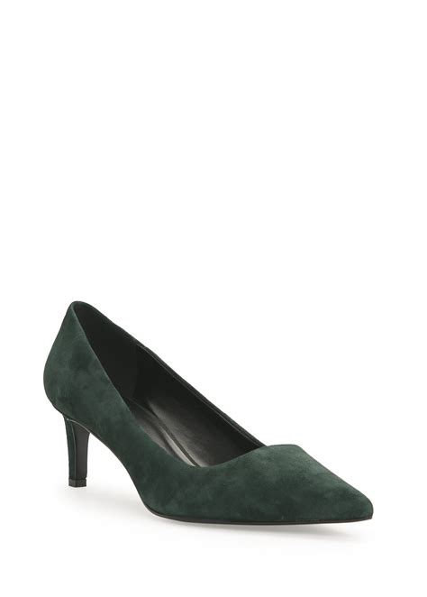 mango leather stiletto shoes in green lyst