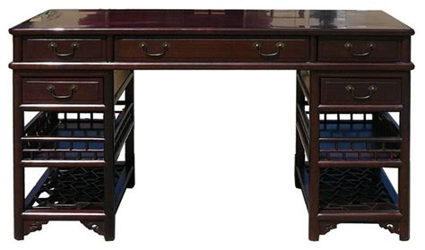 rosewood 3 pieces lettuce base writing desk - Asian Desk