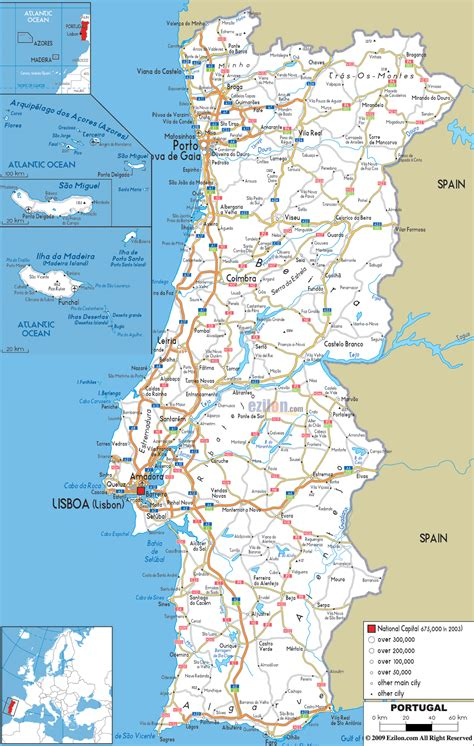 Printable Road Map Of Portugal | printable portugal road map portugal transport map