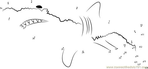 free printable dot to dot shark connect the dots white shark animals gt shark dot to
