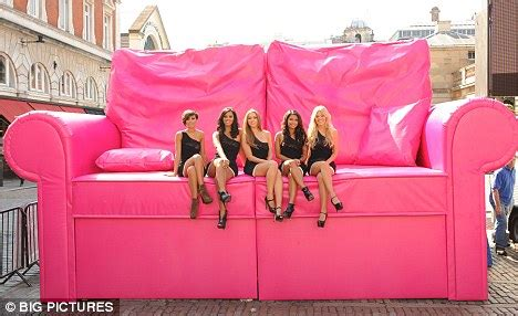 the pink sofa mobile the saturdays get comfy on a giant pink sofa to promote