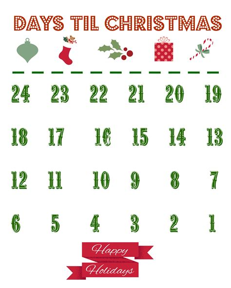 printable countdown to christmas calendar printable