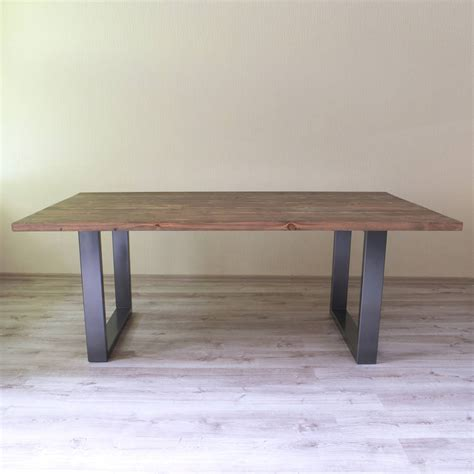 u shaped table u shaped legs reclaimed wood dining table by cosywood