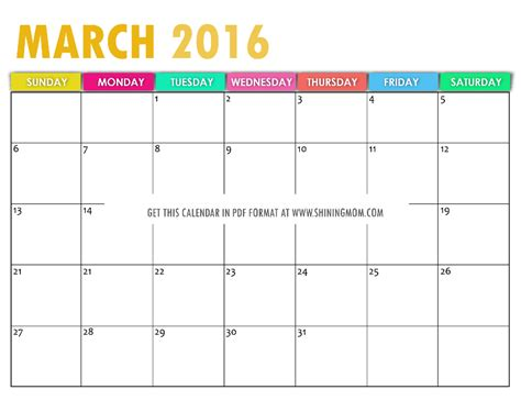 printable planner for march 2016 free printable calendars for march 2016