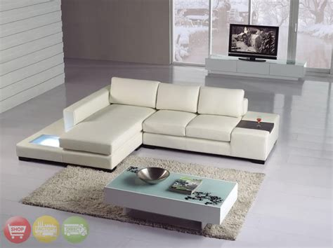 T35 Sectional Sofa Modern White Italian Leather Sectional Sofa T35 Mini W Lighting