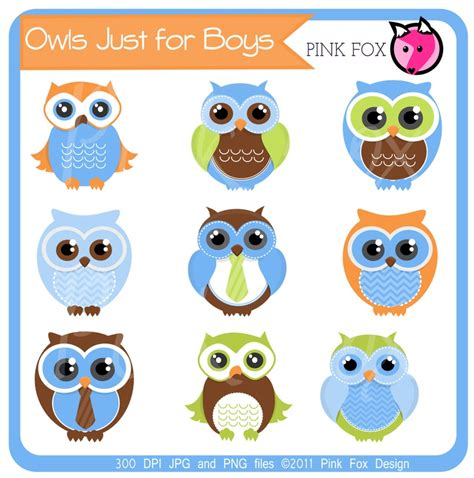 printable owl clip art instant download boys owl clipart for personal and