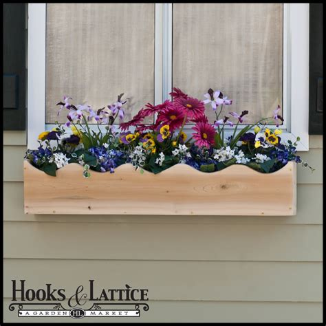 wood window box northern white cedar window box scalloped cedar wood