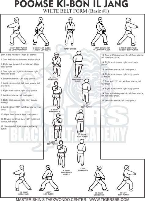design form 1 kata taekwondo form 1 taegeuk il jang white belt tkd