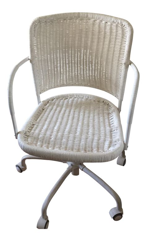 white wicker rolling desk chair chairish