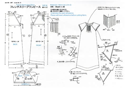 pattern dressmaking free japanese sewing pattern with translations denim