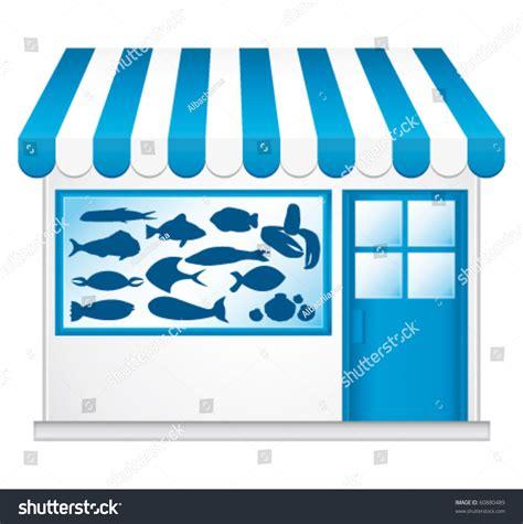Green Awning Fresh Fish Vector Fishmonger Stock Vector 60880489