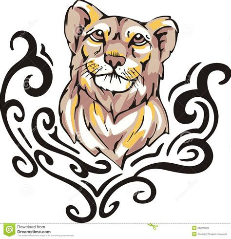 lioness tribal tattoo lioness stock image image 26259801