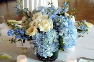 blue hydrangea wedding centerpieces blue and gold floral arrangements blue wedding