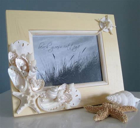 shell home decor beach seashell frame nautical home decor shell frame in