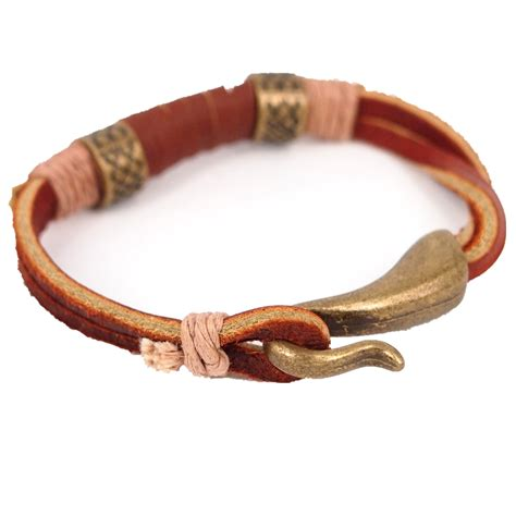 Handmade Clasp - handmade brown leather bracelet with fishhook clasp on luulla
