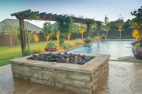 Rectangle Fire Pit - fireplaces amp fire pits large rectangular stone fire pit craftsman patio oklahoma city