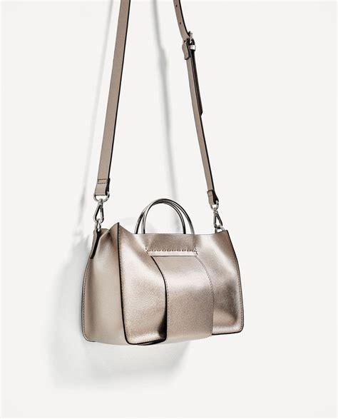 Zara Metallic Tote Bag mini tote bag with metallic handles bags trf zara united