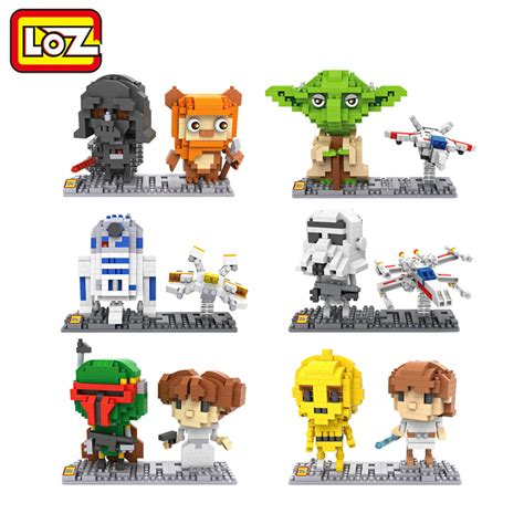 Loz Mini 1601 Convenience Store loz wars figures blocks model c3po r2d2 darth vader yoda stormtrooper luke skywalker leia