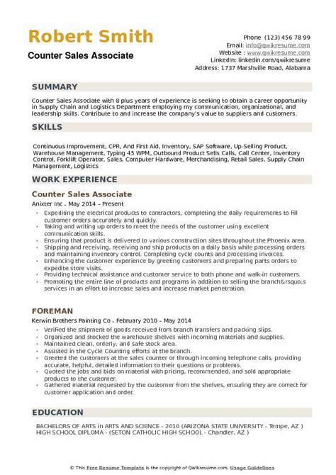 resume format counter salesman counter sales associate resume sles qwikresume