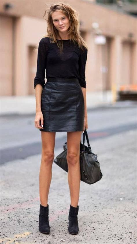 black sweater black leather mini skirt black ankle boots