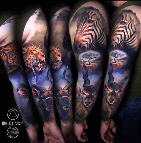 animal tattoo sleeve africa sleeve animal tattoos and tatting