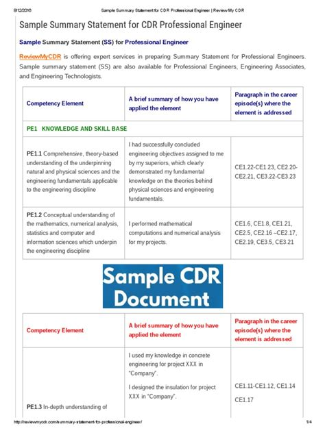 Sle Summary Statement For Cdr Professional Engineer