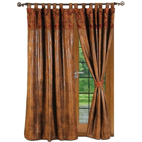 cognac faux leather draperies with attached valance