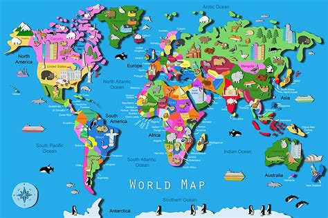 printable map puzzle of world world map 60 pc children puzzle educational toys planet