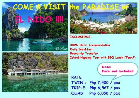Comfort Inn Rates 3d2n El Nido Package 2015 Skyraiders Travel Services