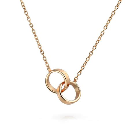 Circle Necklace gold plated interlocking circle sterling silver