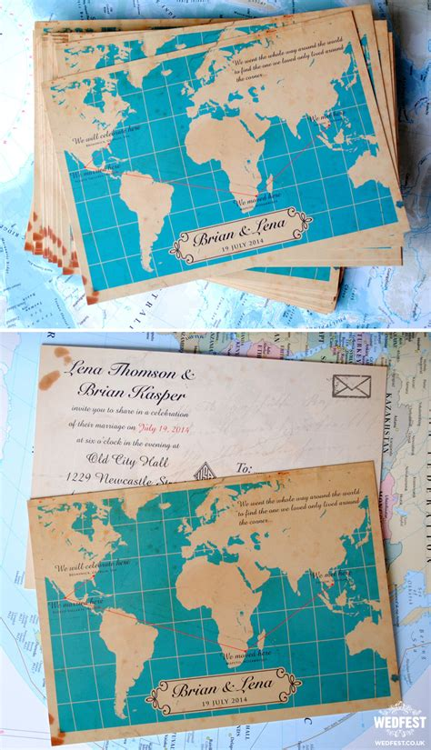 wedding invitations themes travel themed wedding stationery wedfest