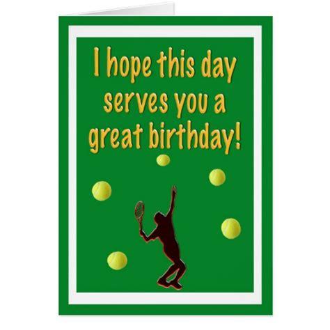 Tennis Birthday Cards Tennis Player Happy Birthday Card Zazzle