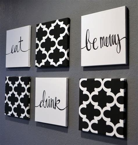 dining room prints wall art eat drink fork knife spoon eat drink be merry black white wall art 6 pack canvas