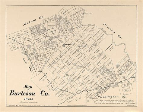 map of burleson county texas map of burleson county tx c1879 repro 20x16 ebay