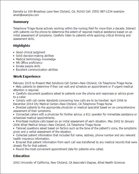 Telephone Triage Sle Resume by Professional Telephone Triage Templates To Showcase Your Talent Myperfectresume