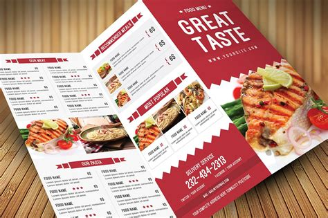 Wedding Menu Brochure by Restaurant Food Menu Brochure Templates Creative Market