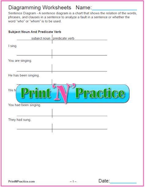 diagramming sentences worksheets pdf diagramming sentences worksheet printables