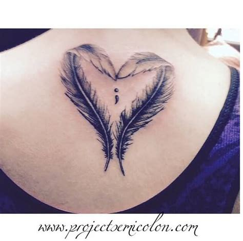 heart feather tattoo designs 11 semicolon designs