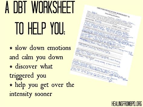 Emotional Regulation Worksheets by Healing From Bpd Borderline Personality Disorder